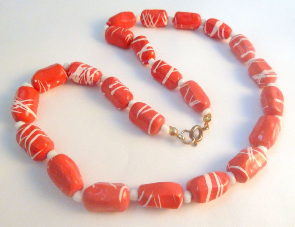 Vintage Vibrant Red And White Striped Bead Necklace